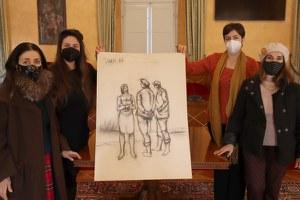 Miresa e Vilma Turci donano al Comune un carboncino del padre Giulio